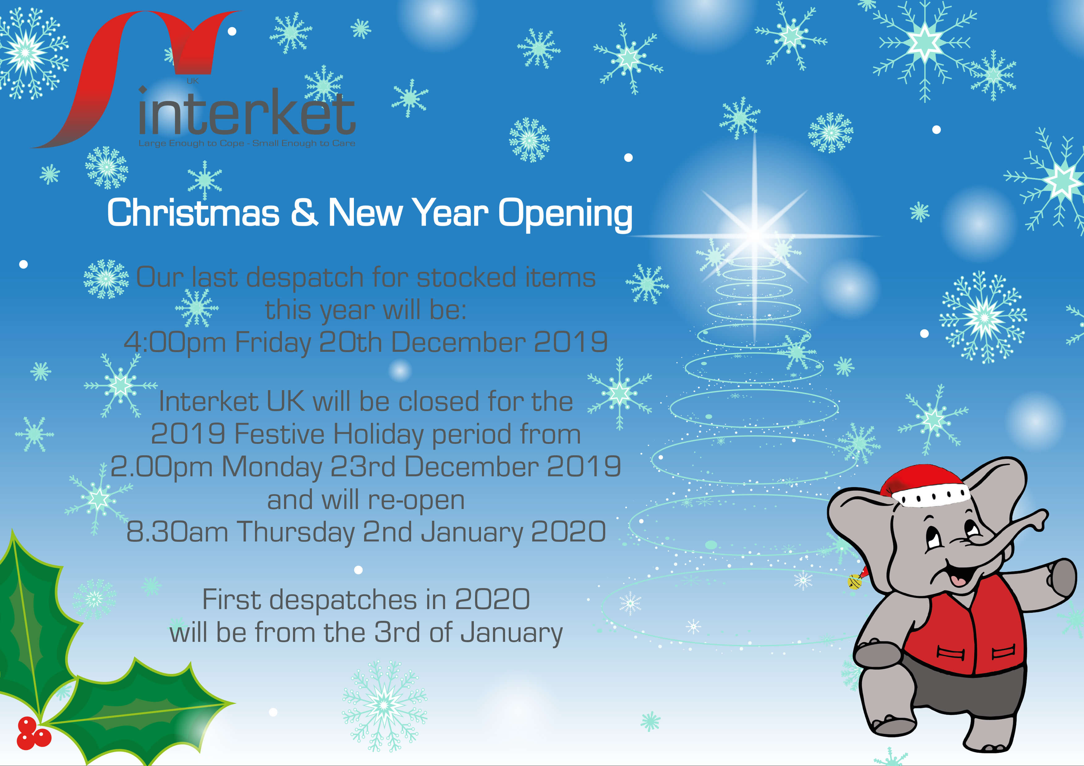 Interket Christmas Opening Hours 2019