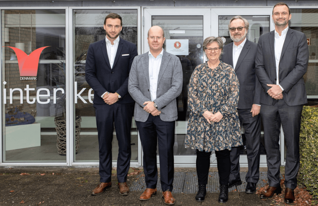 Pictured are senior representatives from the Schur Group with Carl E Parkander CEO Interket Group (2nd from left). From left to right: Johan Schur, Carl E Parkander, Kirsten Olesen, Hans Schur, Hans Christian Schur
